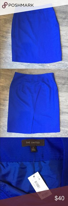 New! Blue pencil skirt size 6 The Limited pencil skirt, new with tags. Originally $59.90! Beautiful blue fabric and fully lined. The Limited Skirts Pencil