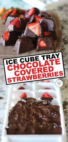 Chocolate covered strawberries are just about the best food around. Here is a easy, fun new recipe for easy chocolate covered strawberries. Delicious chocolate covered strawberries that can be made in an ice cube tray in about 5 Homemade Chocolate, Delicious Chocolate, Chocolate Recipes, Chocolate Chocolate, Easy Chocolate Desserts, Chocolate Party, Homemade Snickers, Easy Desserts, Delicious Desserts