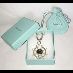 Vintage Tiffany & Co. Nautical Compass Ship Wheel 100% AUTHENTIC!  Comes w/ Tiffany Box & Pouch. My husband received it from an old girlfriend years ago. Only used until break-up (approx 3 months). Tiffany & Co. Accessories Key & Card Holders