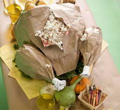 popcorn bag turkey. for the kids table