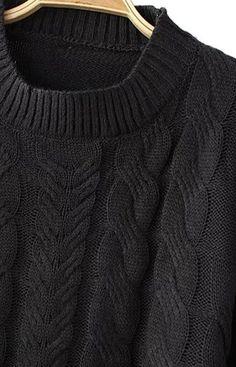 Trendy-Road-Style-Shop-Online-Woman-Fashion-Street-Sweater-Pullover-Warm-Braid-Black