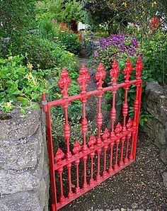 Red garden gate - oh to have a lush garden like this. Garden is lush for about 2 months in the spring and then water conservation limits my gardening. Garden Gates And Fencing, Garden Doors, Garden Paths, Garden Art, Garden Design, Wrought Iron Garden Gates, Lush Garden, Dream Garden, Balcony Garden