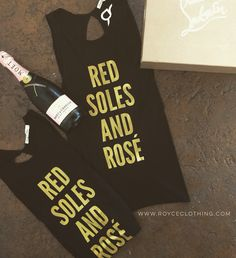 Red Soles And Rosé Criss Cross Open Back  Tank Blk w: matte gold  (pic of the back on website) www.royceclothing.com s.m.l $28 free shipping #royceclothing #freeshipping