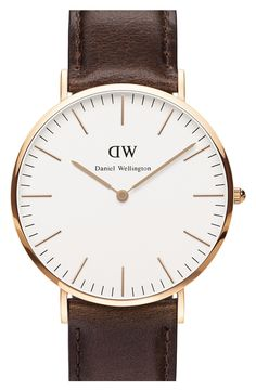 Daniel Wellington 'Classic Bristol' Leather Strap Watch, 40mm