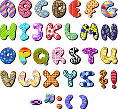 Colored fabric sticker alphabet – vector material | My Free ...