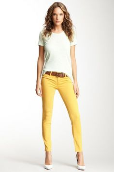 Yellow can be tricky to wear near my face, but I'd totally rock a pair of yellow jeans! Genetic Denim Shya Silk Blend Cigarette Skinny Jean on @HauteLook