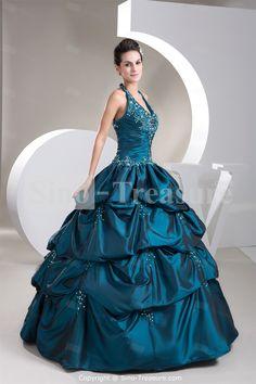Dark Green Beading Halter Apple Sleeveless A-Line Floor-Length Prom Dress