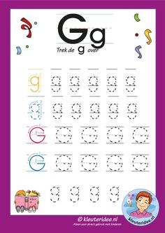Tracing Letters, Letter G, Learning The Alphabet, Home Schooling, Kids Education, Worksheets, Kindergarten, Preschool, Activities