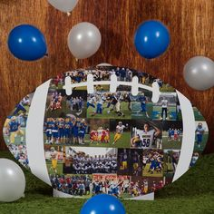 Graduation Poster Ideas Discover Easy Graduation Party Photo Display Ideas That Will Impress Your Guests Planning a grad party for a football player? This unique football cut out is the perfect way to display pictures at the senior memory table! Football Banquet, Football Themes, Senior Football Gifts, Football Player Gifts, Senior Night Gifts, Football Crafts, Graduation Party Planning, Graduation Decorations, Graduation Ideas