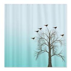 tree shower curtain birds in tree shower curtain