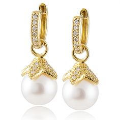 beautiful pearl diamond charms on diamond hoops by Jude Frances