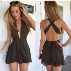 Cheap jumpsuit onesie, Buy Quality jumpsuit cotton directly from China jumpsuits designer Suppliers: rompers womens jumpsuit Bandage chiffon v-neck backless bodysuit shorts women vestidos macacao short feminino/bermuda feminina Rompers Women, Jumpsuits For Women, Long Jumpsuits, Beach Jumpsuits, Cute Rompers, Mode Outfits, Fashion Outfits, Fashion Women, Fashion 2014