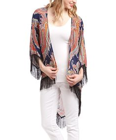 Love this Lady's World Navy Blue Paisley Fringe Hi-Low Cardigan by Lady's World on #zulily! #zulilyfinds