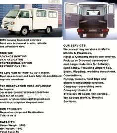 Up-graded van for rental services in philippines area :-) Hilario, Manila, Philippines, Transportation, Warehouse, Model, Ideas, Scale Model