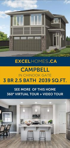 Home design   Kitchen | 3 bedroom 2.5 bathroom 2,039 SQ.FT home floorplan   virtual tour! View more of this house: Campbell in Chinook Gate | Home design by Excel Homes | #homedesign #home #house #homebuilder #houseplans #floorplan