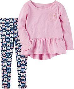 Girls' 2T-8 Butterfly Shirt And Leggings Set