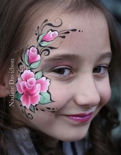 One stroke rose face paint - by Nadine Davidson #facepaint #rosesfacepaint #flowerfacepaint