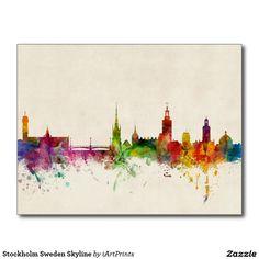 Stockholm Sweden Skyline Postcard