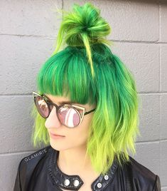 top knot for short green hair hair, 40 Quick and Easy Short Hair Buns to Try Short Green Hair, Neon Green Hair, Short Hair Bun, Green Hair Colors, Yellow Hair, Colored Short Hair, Short Rainbow Hair, Neon Hair Color, Ombre Green