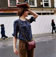 floral blue blouse, brown pants #style
