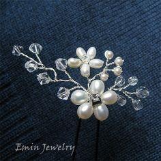 3 Bridal Hair Pin Set - Cream Fresh Water Pearl Swarovski Clear Crystal Rhinestone Wedding Hair accessories Brides Hair Pieces Haircombs. $47.00, via Etsy.