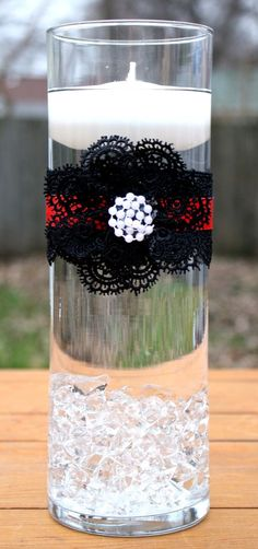 Wedding centerpiece, red and black wedding, floating candle centerpiece More