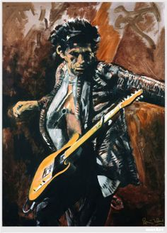 Keith Richards painted by Ronnie Wood. Yes, it's Ronnie from the Rolling Stones - he's an accomplished artist and has exhibited since the 1980s and before beginning his musical career he received formal art training at Ealing College of Art in London.