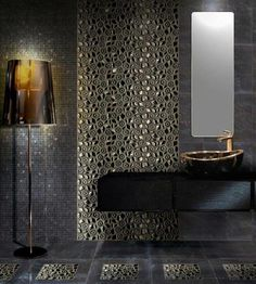 modern art tile | Modern bathroom with interesting decoration with mosaic tiles