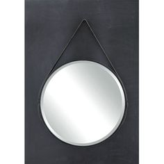 Creative Co-Op Terrain Round Metal Mirror with Leather Strap & Reviews | Wayfair
