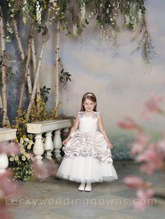 Sleeveless Flower Girl Dress with 3D Flower and Pick-up Skirt