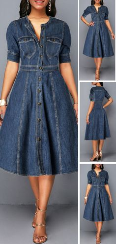 Button Up Denim Blue Pocket Shirt Dress HOT SALES beautiful dresses, pretty dresses, holiday fashion, dresses outf Elegant Dresses, Cute Dresses, Beautiful Dresses, Casual Dresses, Denim Dresses, Denim Shirt Dress, Dresses Dresses, Denim Dress Outfit Summer, Pretty Dresses For Women