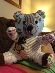 Teddy bear made from old baby clothes, FREE pattern included.