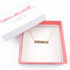 Custom Bar Stamped Necklace // Roman Numeral Date // Perfect for Grad Gifts www.alistgreek.com