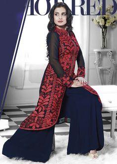 USD 72.81 Ameesha Patel Red Georgette Bollywood Salwar Kameez 44152