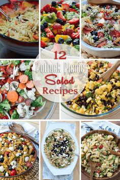 12 Potluck Picnic Salad Recipes ~ http://www.fromvalerieskitchen.com