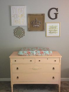 We love this fun pop of peach via a vintage changing table. So fun!