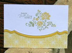 Adorning Accents and SU Fresh Vintage **** retired 2012 Sale-a-bration Stampin' Up! Birthday Cards For Women, Happy Birthday Cards, Birthday Wishes, Scrapbooking, Scrapbook Cards, Card Making Inspiration, Making Ideas, Pretty Cards, Mellow Yellow