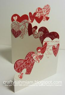 Trifold Punched Hearts Card Riding Hood Red card stock and ink Very Vanilla card stock and craft ink several background stamps heart shaped punches Valentine Crafts, Valentine Day Cards, Holiday Cards, Valentine Ideas, Printable Valentine, Homemade Valentines, Valentine Wreath, Valentine Nails, Easy Diy Valentine's Day Cards