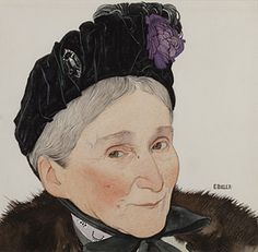 Ernest Bieler, Portrait de Nathalie Bieler (1834-1918) mère de l'artiste, aquarelle sur papier