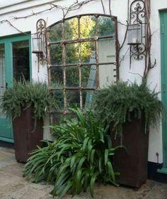 déco récup et miroir de jardin