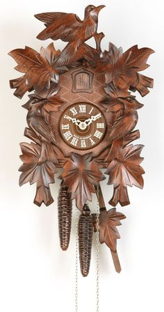 cuckoo clock seven leaves three birds and nest day movement  kammerer uhren hekas 1 day birds and leaves cuckoo clock 1614 ex n