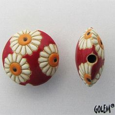 White Daisies, Lentil Bead with Red Background, Focal Bead, Pendant Bead, Golem Studio Designs by JasmineTeaDesigns on Etsy