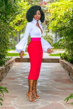Style pantry button down color block waist pencil skirt fashionista in 2019 Pencil Skirt Outfits, High Waisted Pencil Skirt, Pencil Skirts, Pencil Dresses, Pencil Skirt Dress, Skirt Midi, Classy Outfits, Chic Outfits, Modelos Fashion