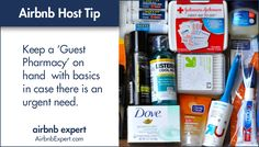 """Putting together a 'Guest Pharmacy' will be a nice touch since travelers often forget the """"basics.""""  #Airbnb #LifesBetterWithAirbnb #AirbnbExpert"""