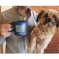 Keep warm this winter and make a statement with your morning coffee in the PETA Mission Statement Ceramic Mug from the PETA Catalog.