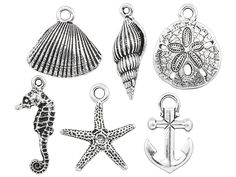 TierraCast Antique Silver-Plated Pewter Ocean Charm Set (6pcs)