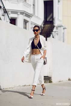 white-pants-with-bandeau-top-and-blazer