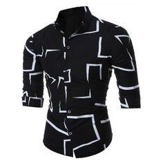 Slim Geo-print Long Sleeve Shirt