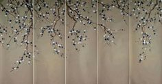 Chinoiserie Papers » Sabra (embroidered) | Griffin & Wong Japanese Wall, Japanese Screen, Home Wallpaper, Flower Wallpaper, Tile Patterns, Textures Patterns, Cherry Blossom Drawing, Lattice Screen, Hand Painted Wallpaper