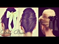 Girly hair buns for long hair tutorial